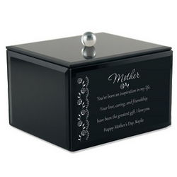 Mom's Black Glass Personalized Keepsake Box