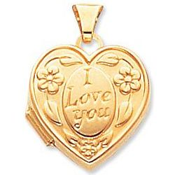 Yellow Gold I Love You Heart Locket