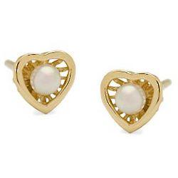 14K Yellow Gold 3mm Cultured Pearl Heart Earrings