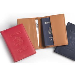 Leather Passport Case with Debossed US Seal