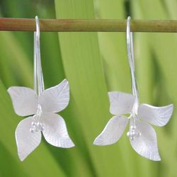 Snow Blossom Sterling Silver Flower Earrings