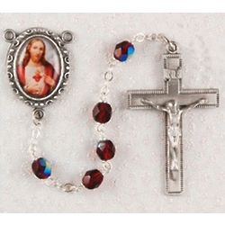 Sacred Heart Garnet Beaded Rosary