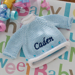 Blue Sweater Personalized Baby Christmas Ornament