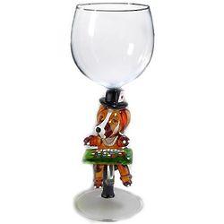 Handbown Glass Poker Playing Dog Wine Glass