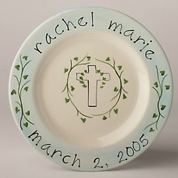 Personalized Christening Plate with Vines and Cross