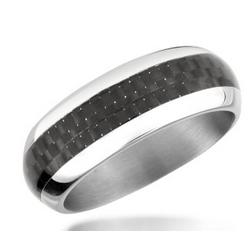 Zo Dark Carbon Fiber and Stainless Steel Band Ring
