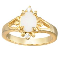 Opal and Cubic Zirconia Accent Princess Ring