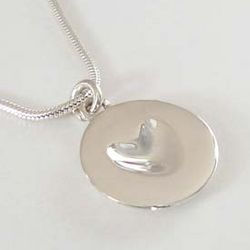 Sterling Silver Satin Finish Melting Heart Necklace