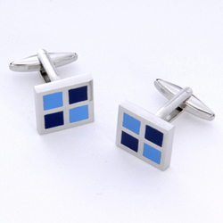 Blue Square Cufflinks with Personalized Case