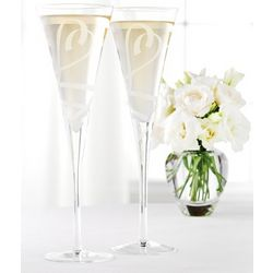 Lenox True Love Crystal Champagne Flutes