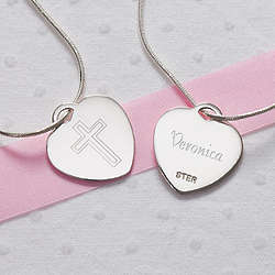 Personalized Love and Faith Silver Heart Cross Necklace