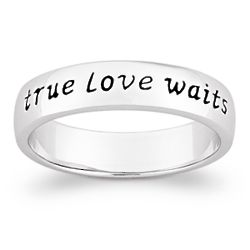 Sterling Silver True Love Waits Purity Sentiment Ring
