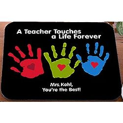 Personalized Teacher Mouse Pad with Kid Handprints