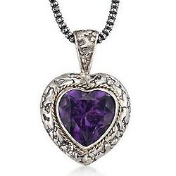 Two-Tone Balinese Amethyst Heart Pendant
