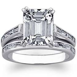 Platinum Plated Emerald-Cut Cubic Zirconia Wedding Set