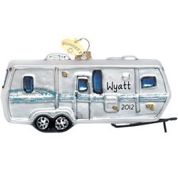 Personalized Travel Trailer Glass Christmas Ornament