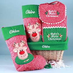 Personalized Baby's First Christmas Gift Basket
