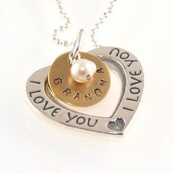 I Love You Heart Personalized Hand Stamped Necklace
