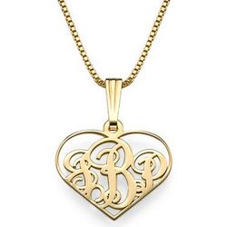 18K Gold Plated Extra Small Heart Monogram Necklace
