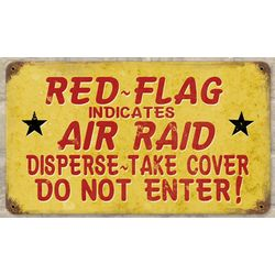 Red Flag Air Raid Metal Sign