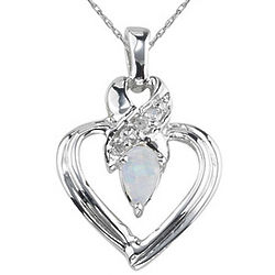 Opal and Diamond Heart Pendant in 14K White Gold