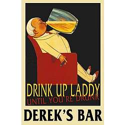 Personalized Vintage Drinking Laddy Bar Sign