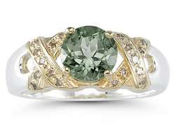 1.3ct Green Amethyst & Diamond Ring in 14k Yellow Gold and Silver