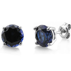 Sterling Silver Round Sapphire CZ Solitaire Earrings