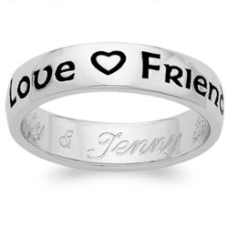 "Platinum Over Sterling ""Love Friendship Loyalty"" Engraved Ring"