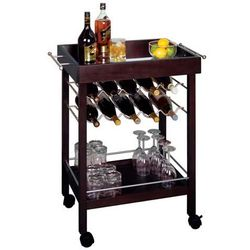 Bar Cart with Mirror Top and Wine Rack