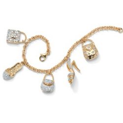 DiamonUltra Cubic Zirconia Handbag and Shoe Charm Bracelet