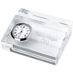 Personalized Crystal Business Card Holder with Clock