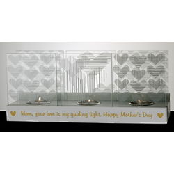 Personalized Glass Hearts Tea Light Holder for Mom
