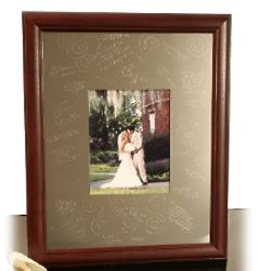Cherry Signature Picture Frame with Silver Mat