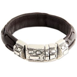 Men's Sterling Silver and Leather Woodsman Bracelet