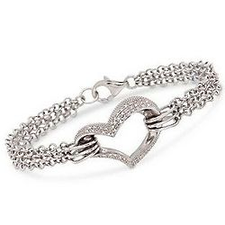 Sterling Silver .20 Carat Diamond Heart Bracelet