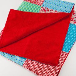 Red and Blue Multi-Patched Baby Blanket