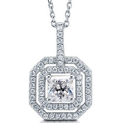 Princess Cubic Zirconia Sterling Silver Double Halo Necklace