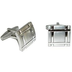 Reaction Polished Rhodium Square Crosshatch Cufflinks