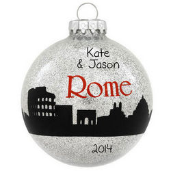 Rome Skyline Personalized Silver Glass Ball Ornament