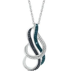 Black, Blue and White Diamond Twist Necklace