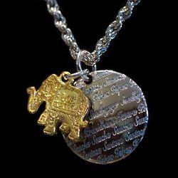 Yama and Niyama Pendant with Elephant Charm Necklace