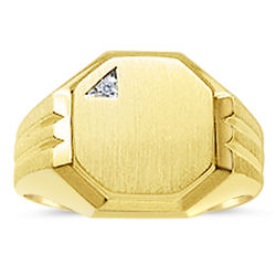 Men's Octagon Signet Diamond Ring