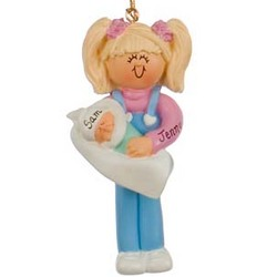 Big Sister Holding Baby Personalized Christmas Ornament