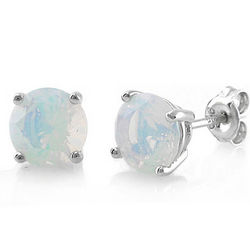Sterling Silver Round Opal CZ Solitaire Earrings