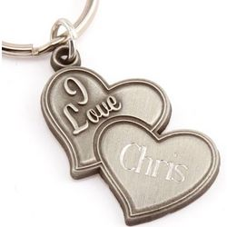 "Engraved ""I Love"" Double Heart Key Chain"