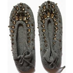Pure Cashmere Slippers with Beadwork