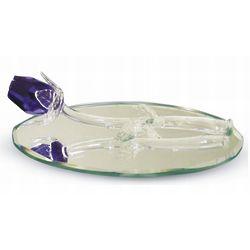Single Crystal Blue Rose on Oval Mirror