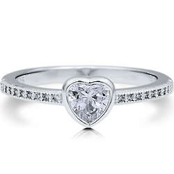 Sterling Silver Heart Cut Solitaire Ring