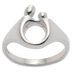 Sterling Silver Mother and Child Ring